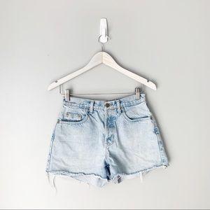 Vintage cutoff light wash denim shorts